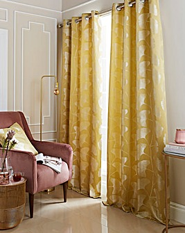 Gingko Lined Eyelet Curtains