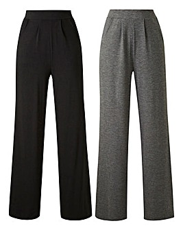 Petite 2 Pack Stretch Jersey Wide Leg Trousers
