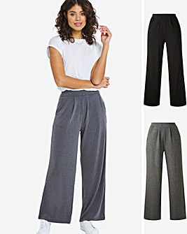 Lightweight 2 Pack Stretch Jersey Wide Leg Trousers Regular