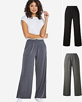 Lightweight 2 Pack Stretch Jersey Wide Leg Trousers Long