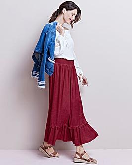 Tassel Trim Tiered Maxi Skirt