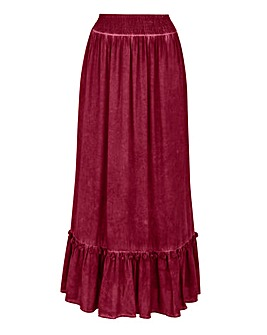 Tassel Trim Tiered Maxi Skirt