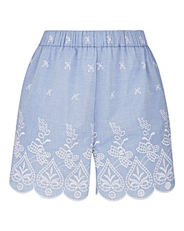 Embroidered Hem Chambray Shorts