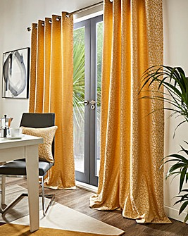 Leopard Lined Eyelet Curtains