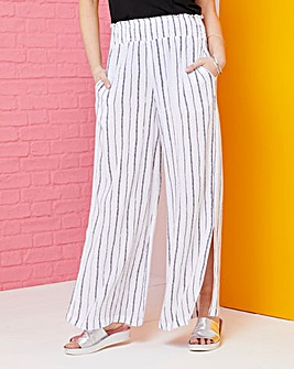 Print Crinkle Shirred Waist Trousers