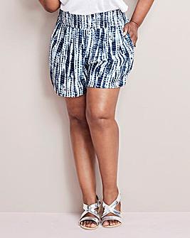 Tie Dye Crinkle Shirred Waist Shorts