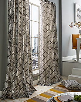 Brooklyn Aztec Print Lined Eyelet Curtains