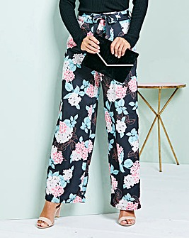 Print Wide Leg Satin Trouser