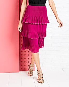 Magenta Tiered Pleated Midi Skirt