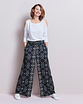 Print Crinkle Shirred Waist Trousers