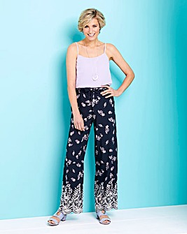Printed Lace Hem Wide Leg Trousers