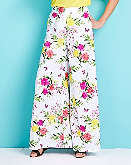Floral Print Superwide Leg Trousers Reg