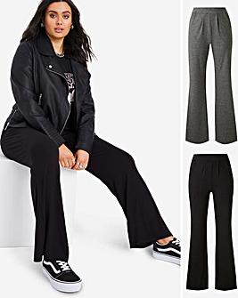 Lightweight Pack of 2 Jersey Bootcut Trousers Long