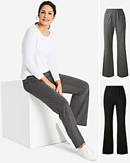 Short Pack of 2 Stretch Jersey Bootcut Trousers
