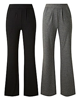 Pack of 2 Stretch Jersey Bootcut Trousers Regular