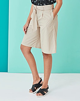 Tie Waist Poplin Knee Length Shorts