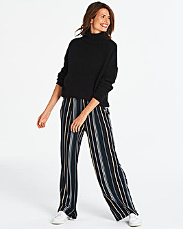 Stripe Wide Leg Jersey Trousers Long