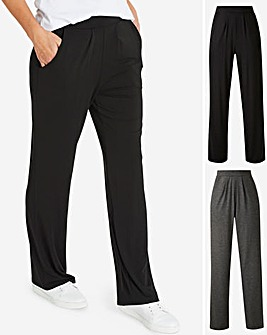 Short Pack of 2 Stretch Jersey Straight Trousers