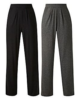Petite Pack of 2 Stretch Jersey Straight Trousers