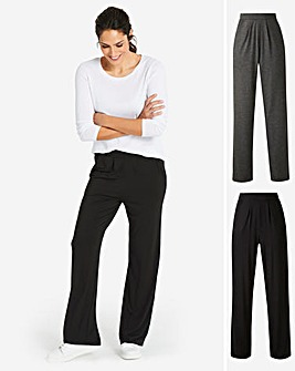 Pack of 2 Stretch Jersey Straight Trousers Long