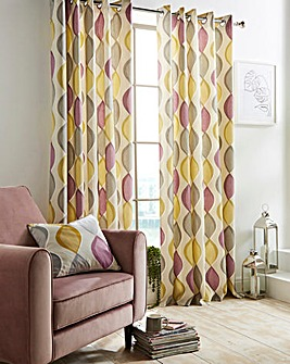 Lennox Print Lined Eyelet Curtains
