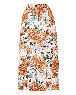 Petite Floral Print Linen Ric Maxi Skirt