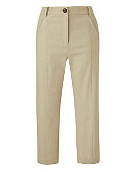 Petite Crop Linen Rich Straight Trousers