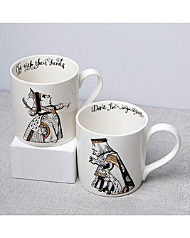 Alice in Wonderland His and Her Mugs