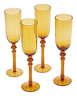 Tessa Champagne Flutes Set of 4 Amber