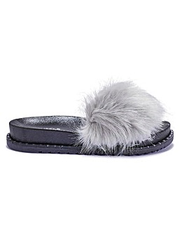 Furry Slider Sandal Standard Fit