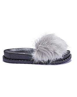 Furry Slider Sandal Standard Fit