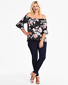 Quiz Curve Floral Bardot Top