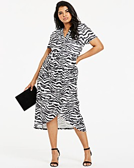 Quiz Curve Zebra Print Wrap Dress