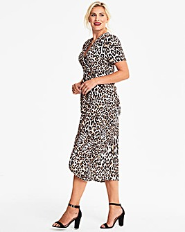 Quiz Curve Leopard Print Wrap Dress