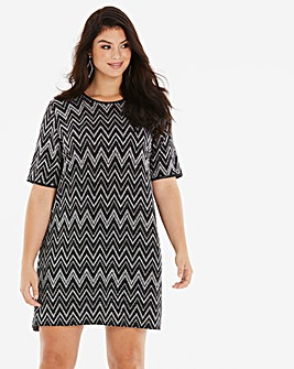 Quiz Curve Glitter T-Shirt Dress