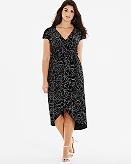 Quiz Curve Velour Geo Print Dress