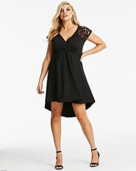 Quiz Curve Lace Sleeve Wrap Skater Dress