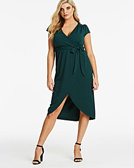 Quiz Curve Green Dip Back Midi Wrap Dress