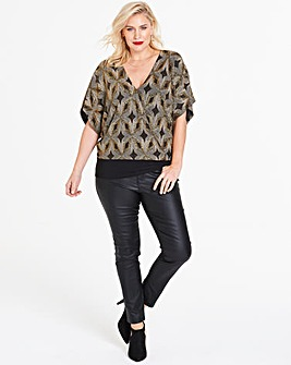 Quiz Curve Gold Glitter Wrap Top
