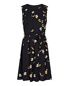 Yumi Curves Bird Print Skater Dress