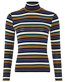 Monsoon Stella Stripe Polo Neck Top