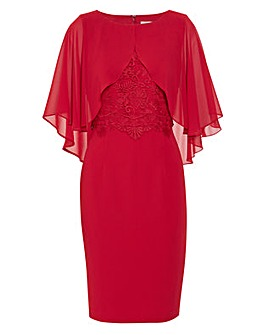 Gina Bacconi Lienna Chiffon Cape Dress