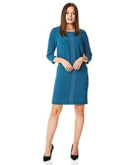 Roman 3/4 Sleeve Top Stitch Shift Dress