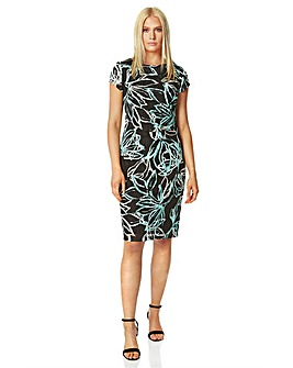 Roman Floral Lace Ruched Dress