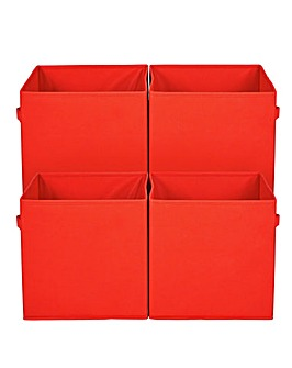 Pack of 4 Red Canvas Boxes