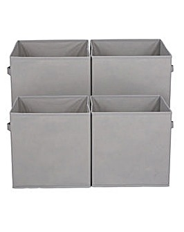 Pack of 4 Grey Canvas Boxes