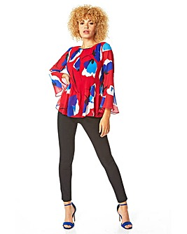 Roman Flared Sleeve Floral Print Top
