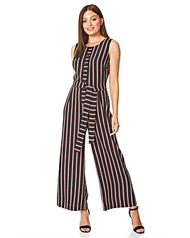 Roman Stripe Button Front Jumpsuit