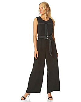 Roman Top Stitch Belted Jumpsuit