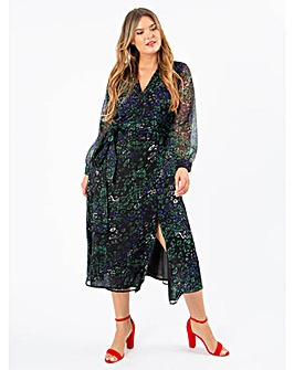 Koko Wrap Front Leopard Print Midi Dress